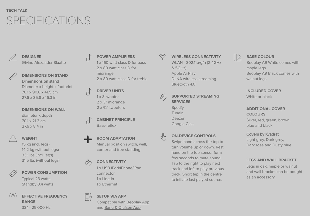Beoplay A9 - Teknisk information