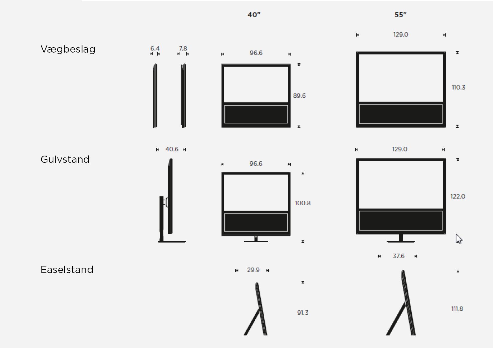 BeoVision 14 - mål/størrelser